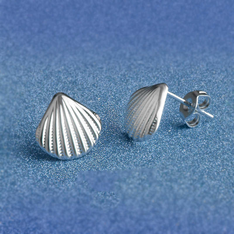 Top Quality 925 Sterling Silver  Shell Shape Stud Earrings For Women Girlfriend Fashion Crystal Jewelry Free Shipping Wholesale