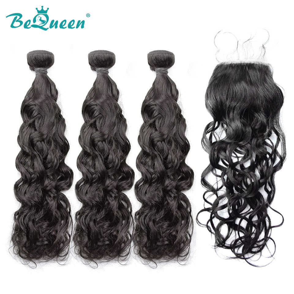 Bequeen Brazilian Virgin Human Hair Water Wave Hair 3Pcs/Lot+Closure Nature Color 100% Human Hair Extensions, Free