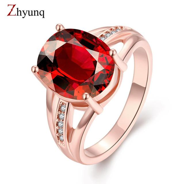c11b11ea4 Fashion Red ruby Gem Women Engagement Wedding Rings 18K Rose Gold Plated Design  Ring Female crystal Jewelry Rigant ringen bijoux