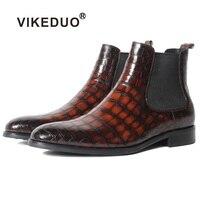 Vikeduo Hot Handmade Designer Crocodile Retro Alligator Fashion Luxury Winter Ankle Footwear Fur Genuine Leather Mens Boots Male