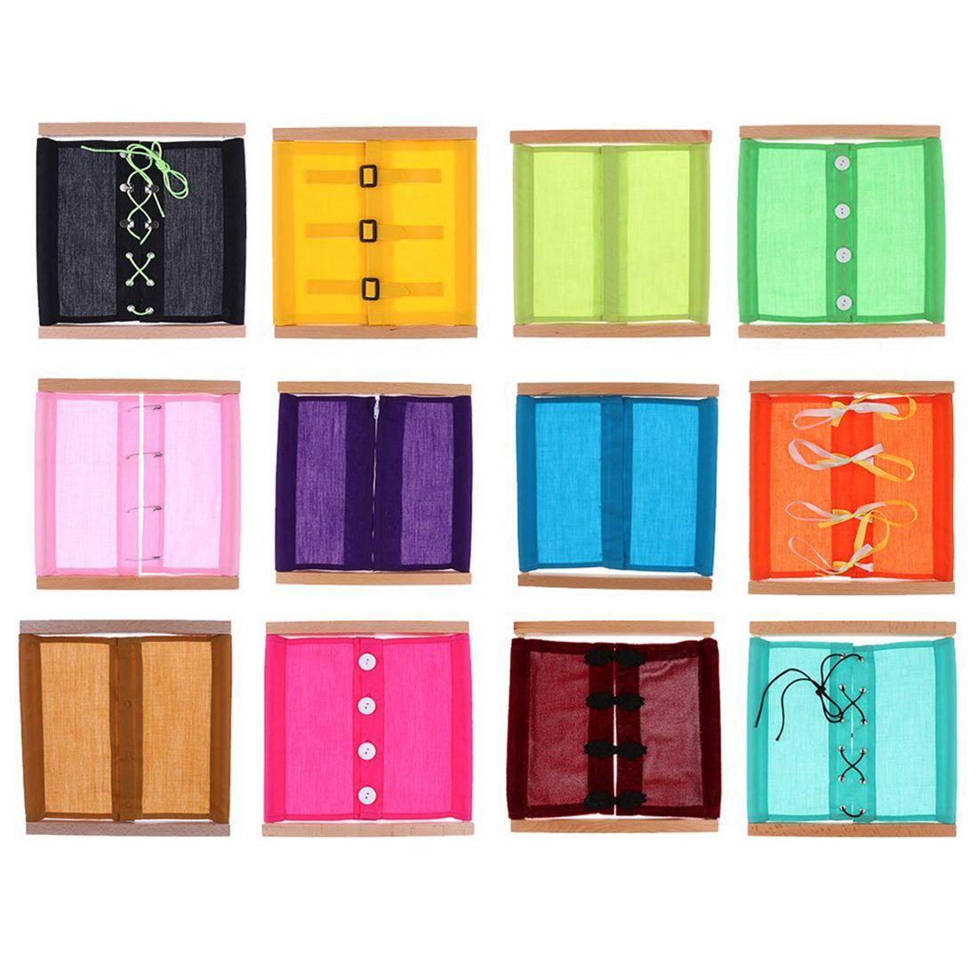 AINY-12pcs matériel Montessori Vie pratique l'éducation préscolaire enfants de jouet en bois