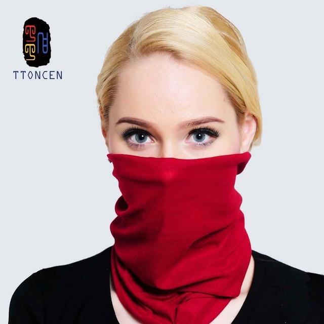 Solid Multi Wear Face Mask Neck Tube Scarf Bandana Head Wrap