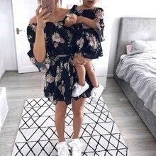 CALOFE/одинаковые комплекты для семьи, для мамы и дочки платье с открытыми плечами свободные платья сарафан Одежда для девочек