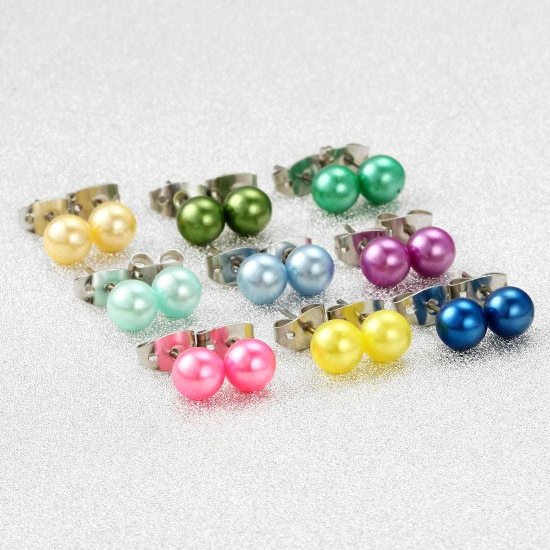 36pair/lot Natural Real Freshwater Pearl Stud Earrings Women Bridal Jewelry Lovely 7-7.5mm Baroque Multicolor Pearl Stud Earring