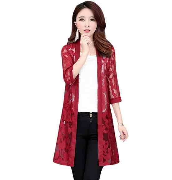 2019 New Feamle Medium Long Shawl Coat Lace Patchwork Hollow Chiffon Thin Open Stitch Summer Jacket Oversize DC320