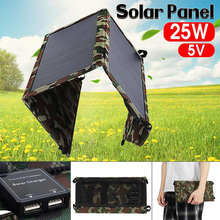 25W Foldable Waterproof Solar Panel Charger Mobile Power Bank for Smartphones Tablets Dual USB Ports Outdoor цена 2017