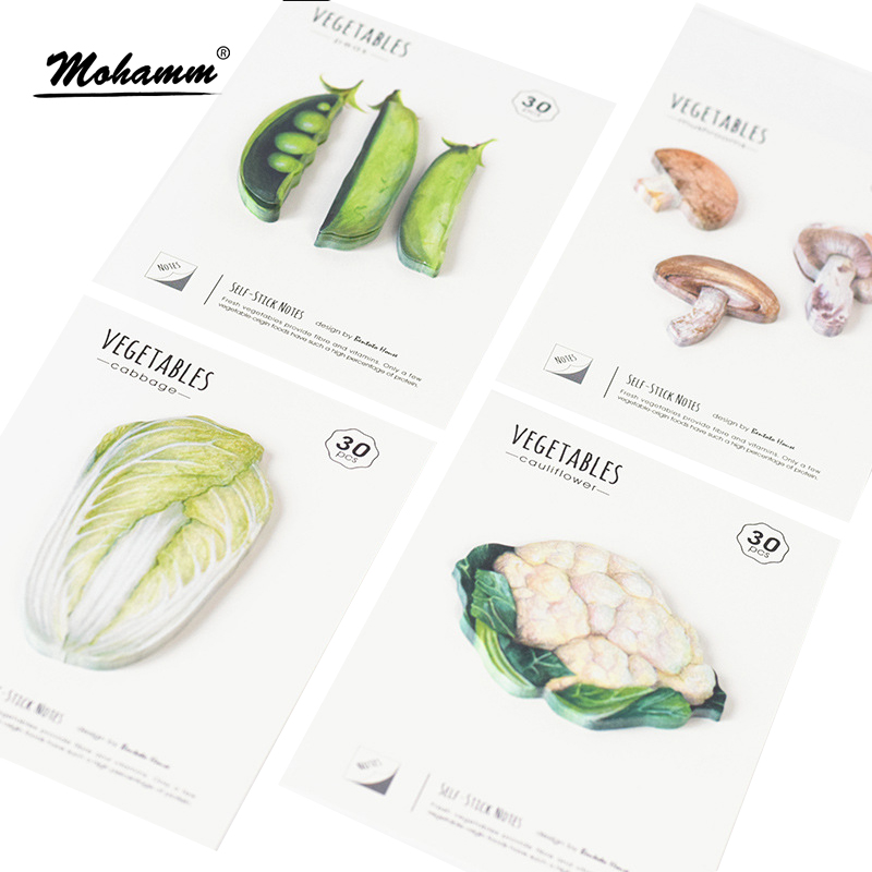 New 4 Style Cute Beautiful Vegetables Notebook Memo Pad Self-Adhesive Sticky Notes Office School Supplies Post It Memo Pad