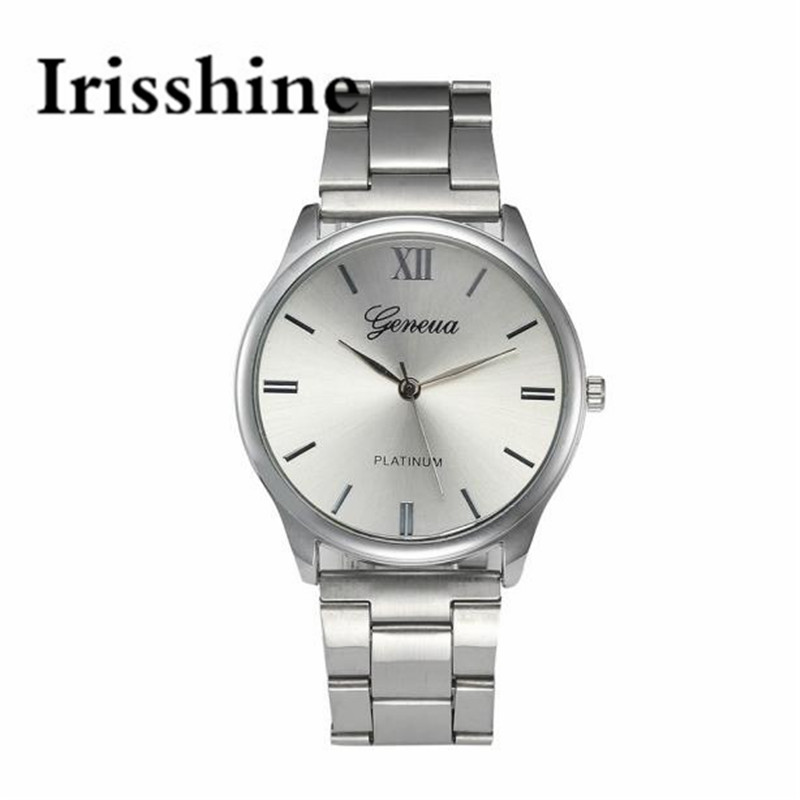 Irisshine I0800 Brand Luxury Men Fashion Women Crystal Stainless Steel Analog Quartz Wristwatch Bracelet Unisex Watches Couple