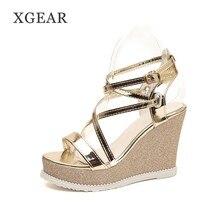 XGEAR High Heels Sandals Women Shinning Glitter Silver Gold Platform Wedges 2018  Summer Ladies Open Toe Casual Shoes Sandals ddf44a204d66