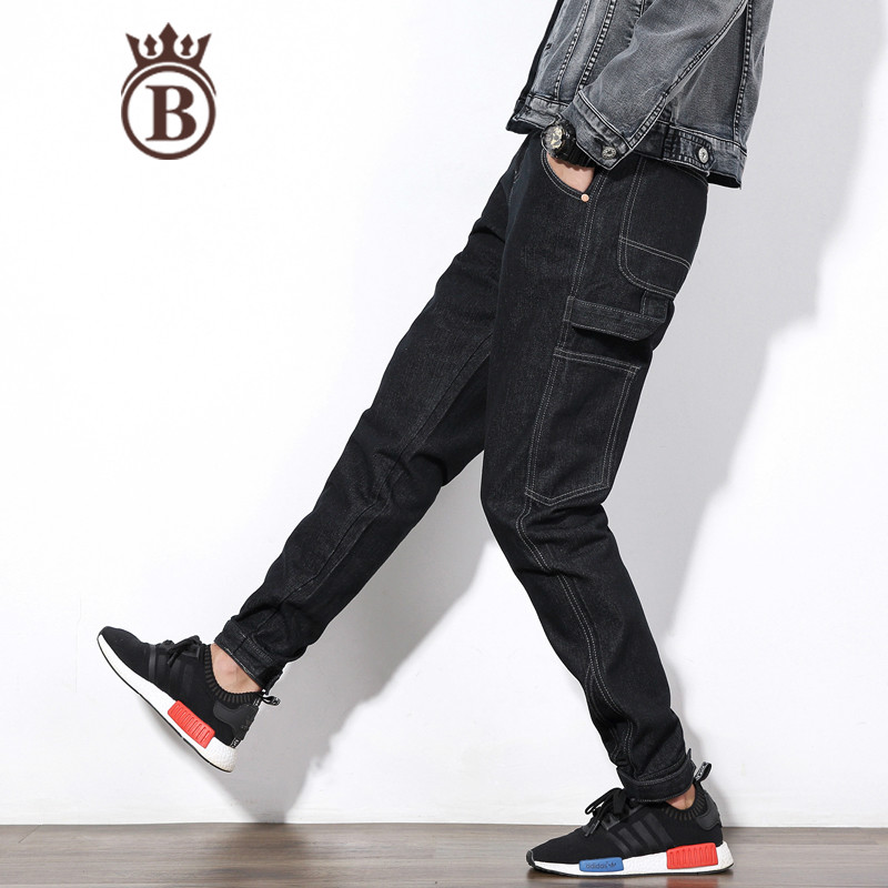 Men's Clothing New Men Straight Fleece Jeans High Quality Famous Men Brand Jeans Multi Pocket Jeans Warm Denim Biker Jean Pants