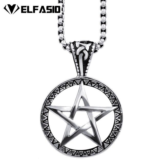 Mens Womens Celtic Wicca Pentagram Star Stainless Steel Pendant