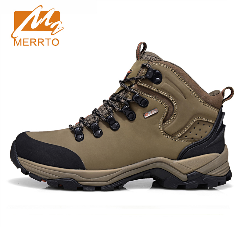 2017 Merrto Men Hiking Boots Event Waterproof Outdoor Shoes Breathable Sport Shoe Full-grain leather For Men Free Shipping 18320 merrto men s outdoor cowhide hiking shoe multi fundtion waterproof anti skid walking sneakers wear resistance sport camping shoe