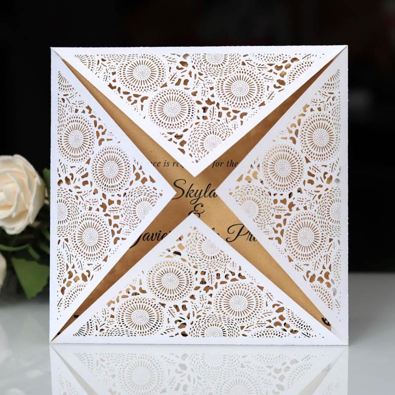 50Pcs Gold White Blue Design Rustic Marriage Wedding Invitation Laser Cut Invitation Card Envelope Seals Event