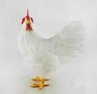 Grote 20x9x24 cm wit kip model plastic & veren cock handwerk, huis tuin decoratie meubels gift d1010