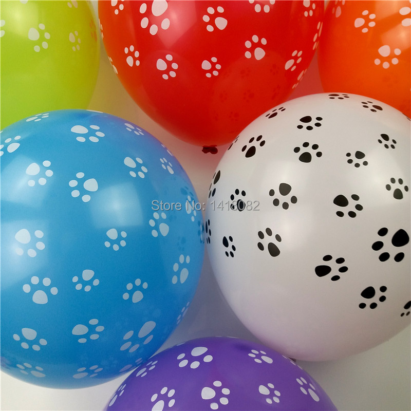 Dog footprints White latex Balloons 2.8g 50pcs  Birthday Party Decor Animal Them