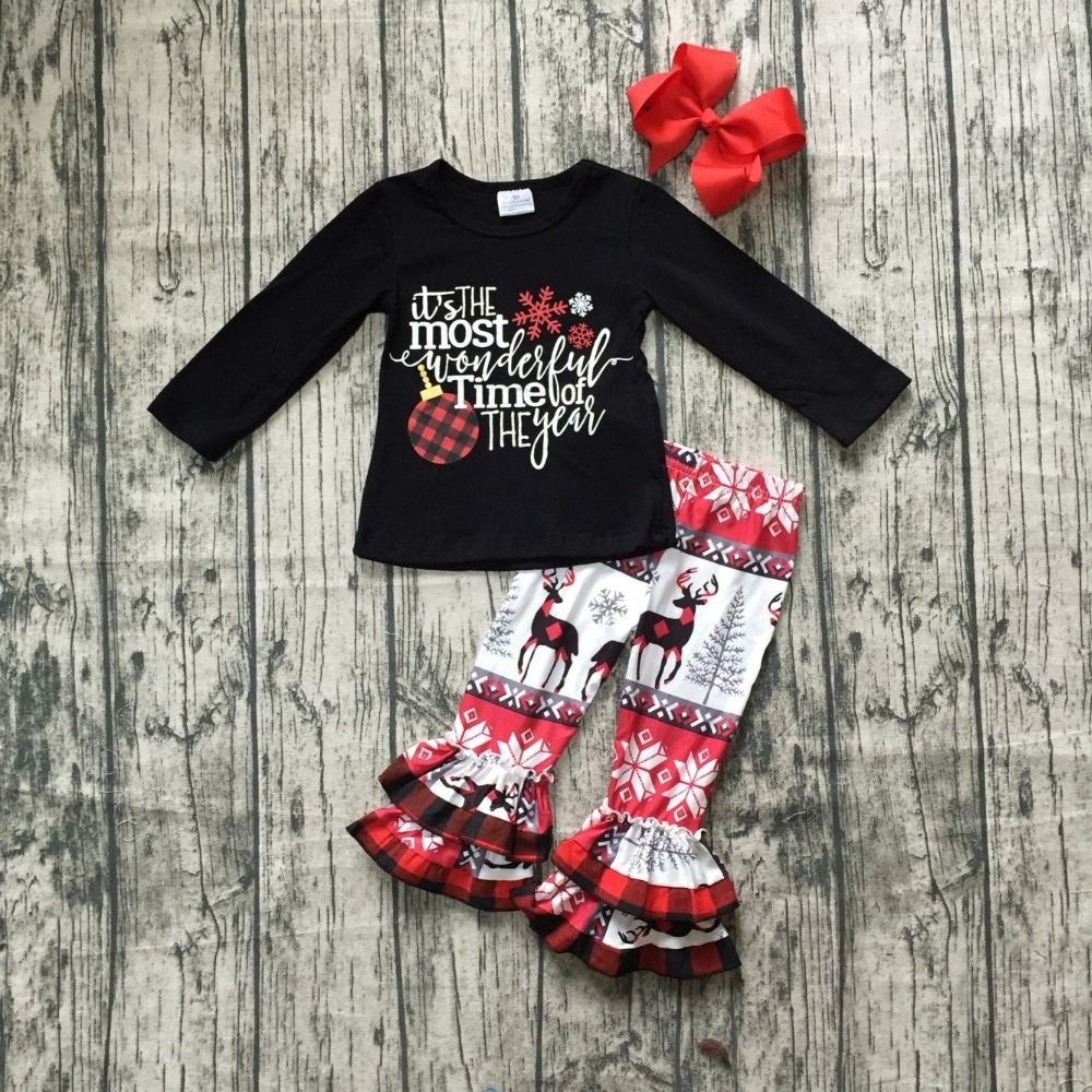 new baby winter/fall girls boutique it's the most wonderful time of the year milk silk children cotton clothes outfits match bow the fall of 2015 to launch new products design high quality loose big yards the cowboy cotton women s nine minutes of pants
