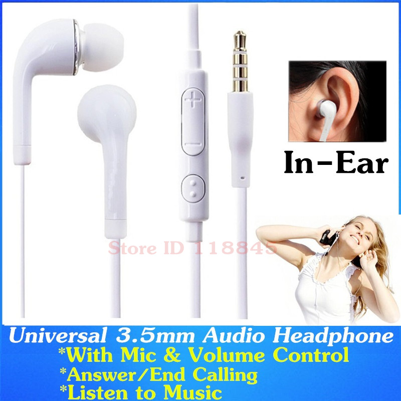 2pcs 3.5mm In-Ear Earphones Headphone With Mic & Volume Control For Samsung Galaxy S8 S6 S7 Edge A3 A5 J5 J7 S5 Sony Headset 2pcs 3 5mm in ear earphones headphone with mic