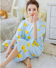 free shipping 2016 hot sell loose  lovely Long Spring&Summer style Nightgown For Girl Women O-neck Sleepshirts AW7417