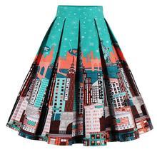 Летняя винтажная юбка с высокой талией в стиле ретро с цветочным принтом, элегантные юбки миди, S-XXL юбки, Женская юбка миди