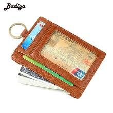 Натуральная кожа RFID Блокировка держателей карт для мужчин слота для карт Портмоне Краткое дизайнер чехол с кольцом для ключей Carteira Masculina
