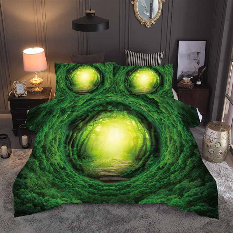 3D Printed Fantasy Forest Duvet Cover Set Green Tree Hole Duvet Cover Quilt Cover Pillowcase Single Double Bedding Set King Size3D Printed Fantasy Forest Duvet Cover Set Green Tree Hole Duvet Cover Quilt Cover Pillowcase Single Double Bedding Set King Size