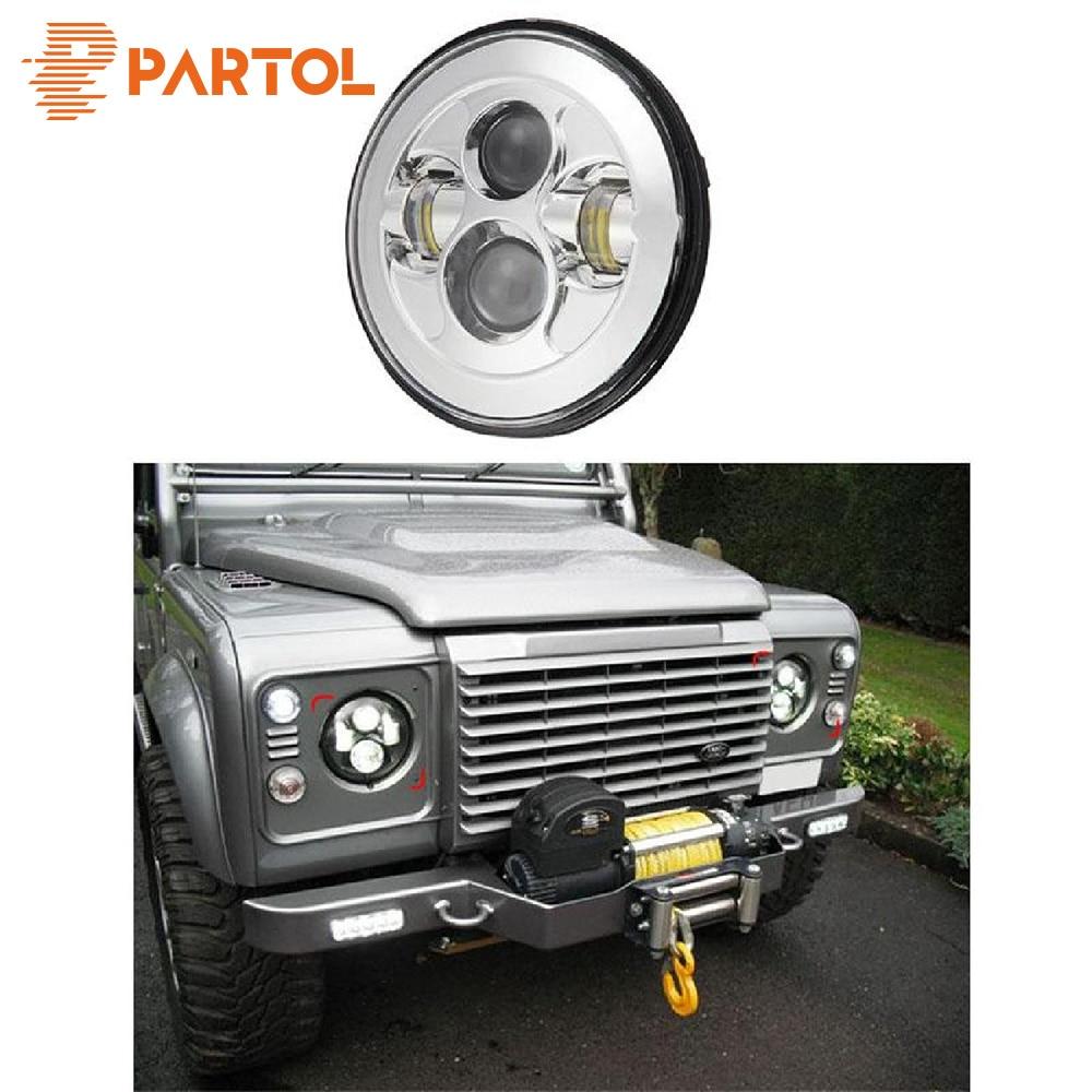 Partol 1pcs 7 Round LED Headlight Daymaker Projector Headlamp Car Light Hi Lo Beam for JEEP Wrangler 1997-2016 Land Rover Lada