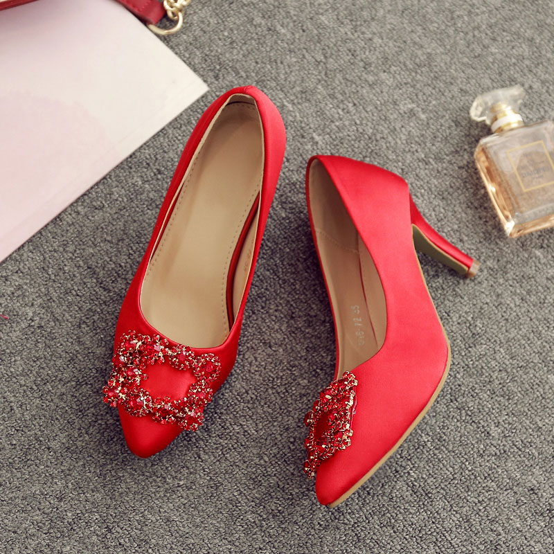 Women Red Satin Wedding Shoes With Rhinestone Square