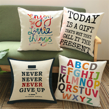 Letter Cushion Cover For Sofa Vintage Home Decor Capa De Almofada Decorativa Bed Throw Pillow Covers Decorations For Homee663