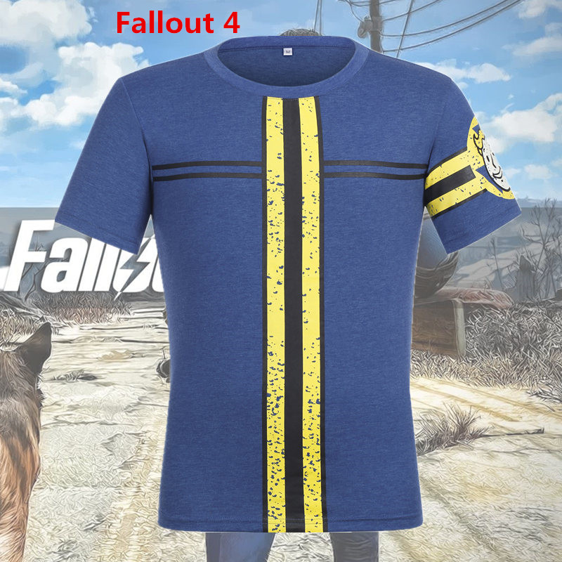 BOOCRE New Game Fallout 4 Cosplay Costume 111 Survivor T-shirt Cotton Daily Casual Short Sleeve Tops Tees Unisex Clothes