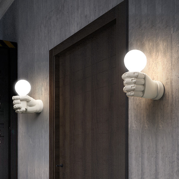 Modern Left Right Fists Wall Lamps Nordic White Black Hand Wall Lights Fixture Home Indoor Lighting Bed Side Door Cafes Lights the ivory white european super suction wall mounted gate unique smoke door