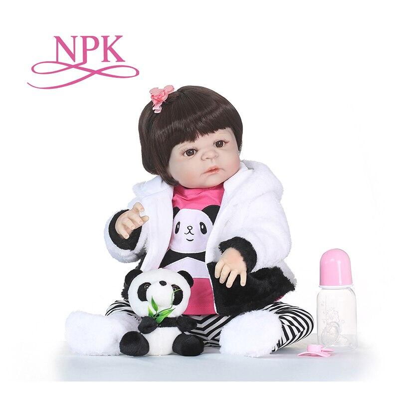 Oyuncaklar ve Hobi Ürünleri'ten Bebekler'de NPK 57CM boneca reborn silikon completa Tam Vinil Silikon Yeniden Doğmuş Bebek oyuncak bebekler Gerçekçi Çocuk Doğum Günü Noel Hediye banyo oyuncak'da  Grup 1