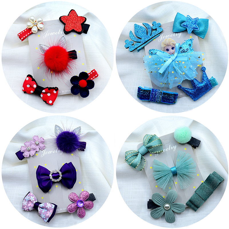 5pcs/set kids girl handmade hair Accessories flowers Bowknot Crown Hairpin child star Cartoon crown hair clips Barrette   headwear