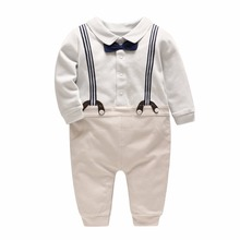 Vlinder 2018 new boy baby shoulder strap gentleman body suit tattoo to imitate two pieces of clothes long Sleeve Jumps