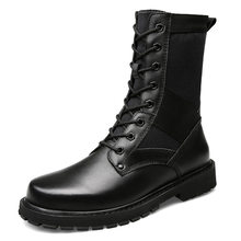 Nieuwe 2018 Mannen Lederen Laarzen Mode Herfst Winter Warm Echt leer Merk Enkellaarsjes Lace Up Mannen Schoenen Schoeisel Casual drop(China)