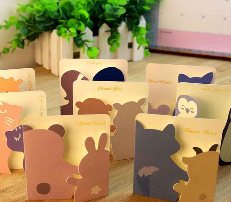 Free Ship!lot=80pc!Creative Sweet Little Animal Cards Paper Greeting Cards / Small Festival Holiday Cards With Paper Envelope