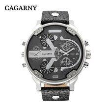 Cagarny Бренд мужской Наручные Часы Мужчины Спорт Кварцевые Часы Мужские Случайные Военные Часы Кожаный Ремешок Кварцевые часы Relogio Masculino