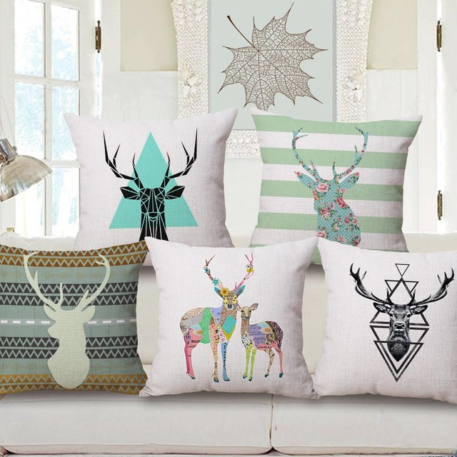 Colorful Elk Head Pattern Decorative Pillowcase Contracted Cotton Pillow  Covers Fashion Deer Head Livingroom/bar