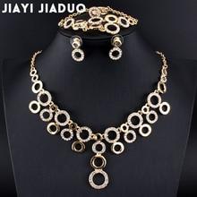 jiayijiaduo Bridal Jewelry Set glamour women Gold-color bracelet ring Circle Necklace Earrings set dress accessories wholesale
