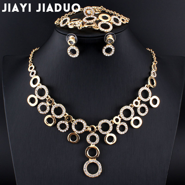 jiayijiaduo Bridal Jewelry Set glamour women Gold-color bracelet ring Circle Necklace Earrings set dress accessories wholesale