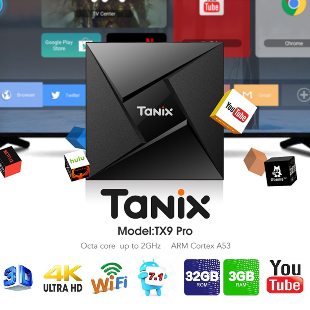Tanix TX9 Pro TV Box Android 7.1 Amlogic S912 Octa-core 3G RAM 32G ROM Set Top Box Bluetooth 2.4G/5.8G Wifi 1000 M Media lettore