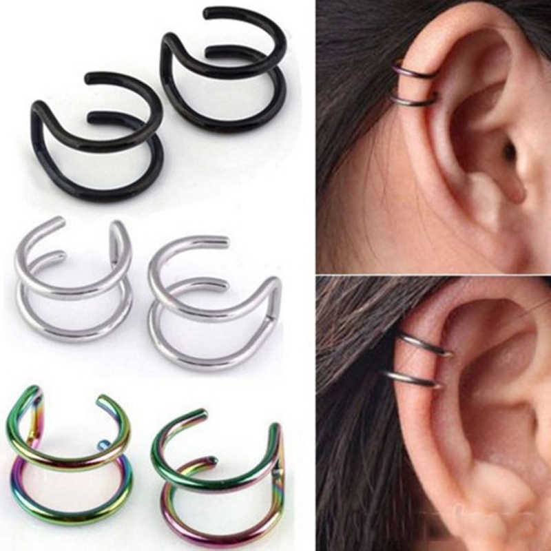 New Fashion 1 piece 5 style Punk Rock Ear Clip Cuff Wrap Earrings No piercing-Clip Hollow Out U Pattern Statement jewelry Gift