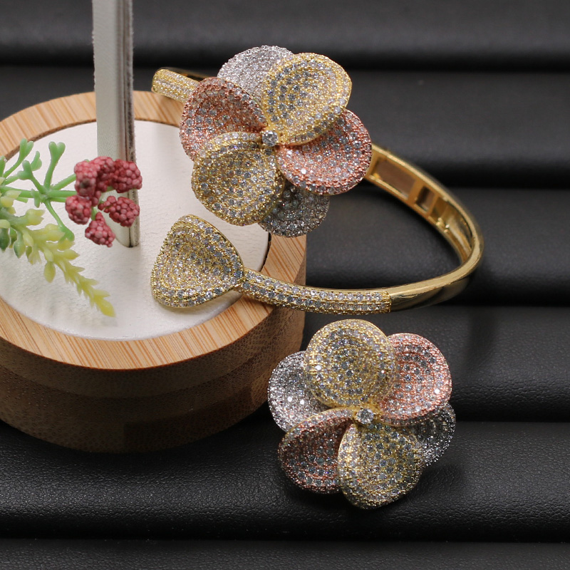 Lanyika Jewelry Set Fleshiness Flowers Bangle with Ring for Girl Banquet Wedding Micro Inlay Popular Luxury Best Gifts-in Jewelry Sets from Jewelry & Accessories    2