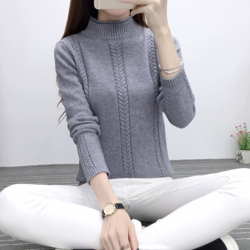 Autumn grey turtleneck retro sweater women elegant knitted pullover christmas sweaters pull femme cashmere jumpers basic tops