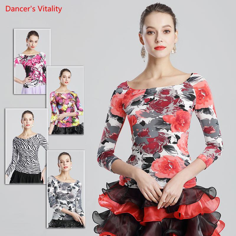 Adult Ice Silk Ballroom Dance Tops Sexy 2018 New Ballroom Dance Costume For Women Ballroom Waltz Dance Competition Clothing