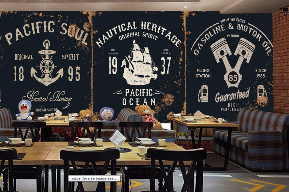 Buy custom retro wallpaper 3d cartoon for Cafe wall mural