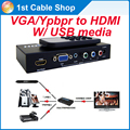 Mix component ypbpr VGA to HDMI converter switcher with remote control