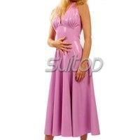 Suitop рукавов латекс цельнокроеное длинное платье