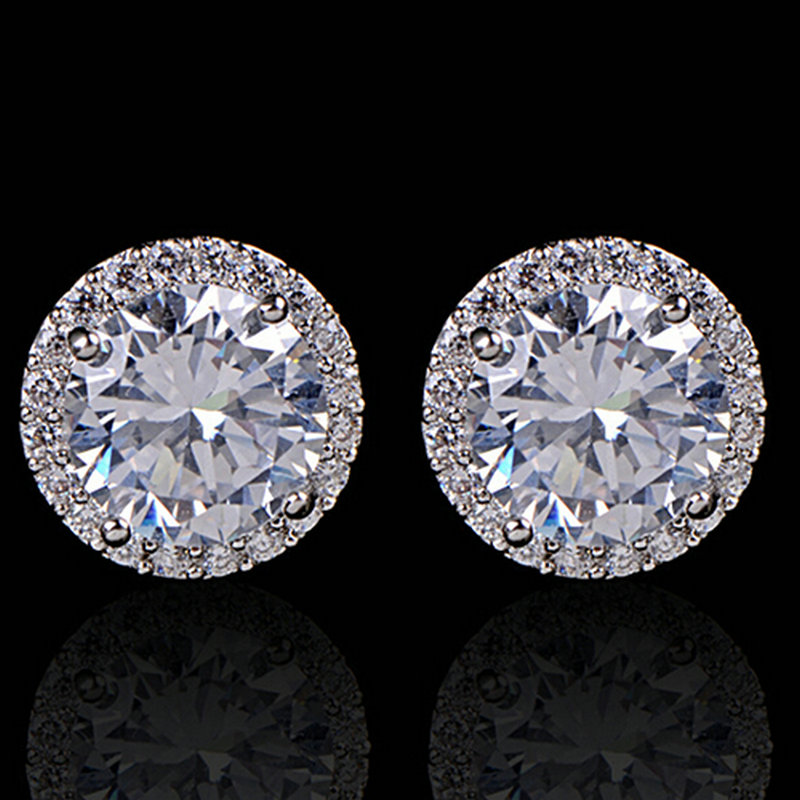 Fashion Women Girl White Rhinestone Crystal Round Metal Zircon Ear Stud Earrings Patry Earring Jewelry