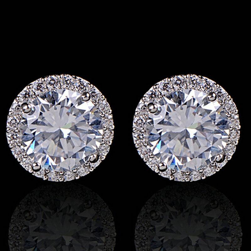 Fashion Women Girl White Rhinestone Crystal Round Metal Zircon Ear Stud Earrings Patry Earring Jewelry