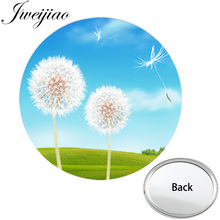 JWEIJIAO Natural Dandelion Flying in the Sky Makeup Vanity Hand Mirrors Mini Round One Side Flat Pocket Mirror Compact Portable